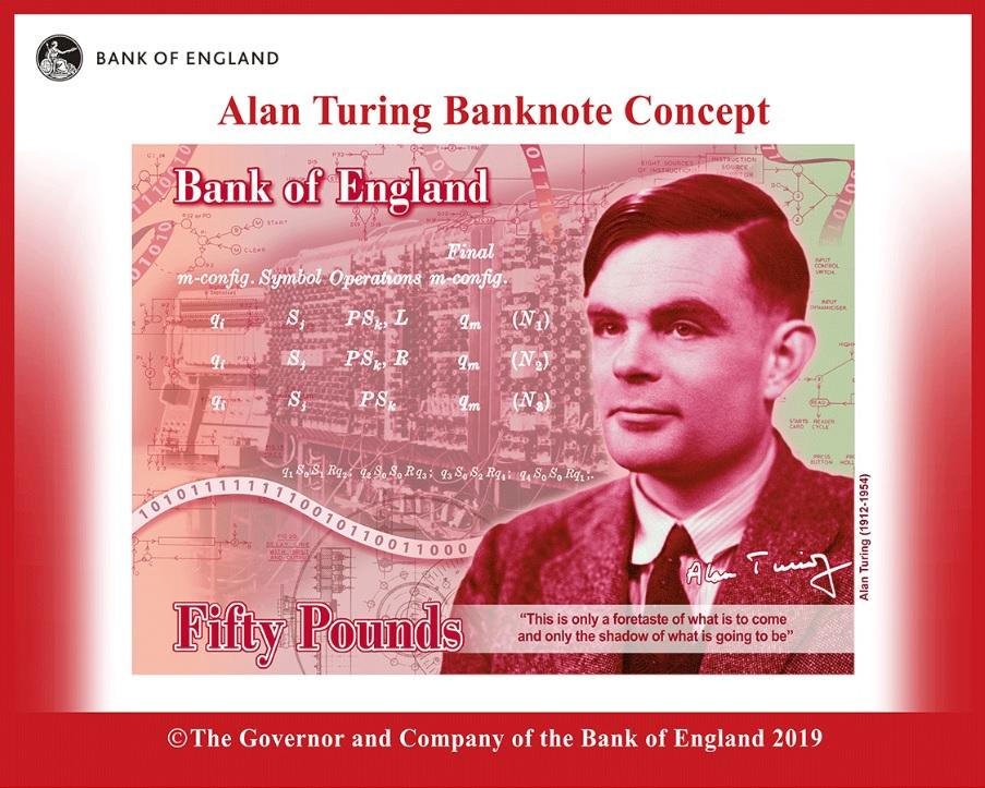 新版50英鎊鈔券主題圖案為Alan Turing肖像